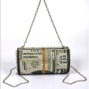 Bling Hundred Dollar Bill Roll Handbag Clutch